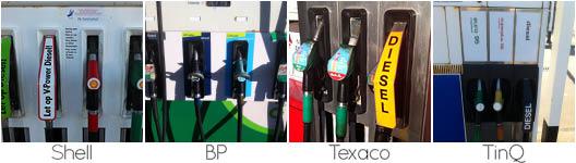 verschillende tankstations gebruiken verschillende kleuren voor benzine en diesel